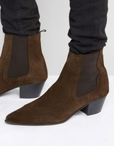 Asos Chelsea Boots In Brown Suede With Stacked Heel