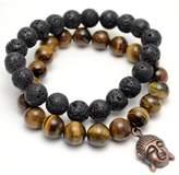 Tag Twenty Two Tiger Eye and Lava Rock Buddha Positive Energy Bracelet Set