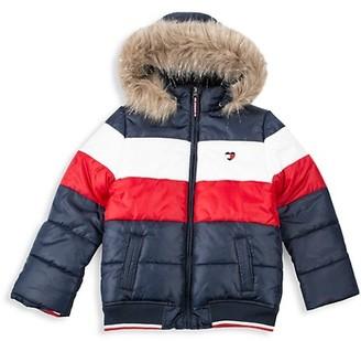 Tommy Hilfiger Little Boy's Faux Fur-Trim Colorblock Puffer Jacket