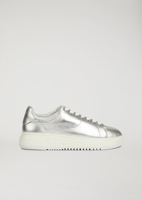 Emporio Armani Sneakers In Metallic-Effect Nappa