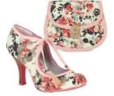 Ruby Shoo Pink Willow Fabric Bootie Pumps & Matching Monaco Bag UK 8 EU 41