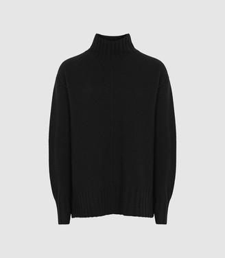 Reiss Bonnie - Wool Cashmere Blend Rollneck Jumper in Black