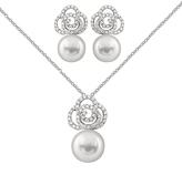 Bella Pearl Pearl & Cubic Zirconia Swirl Pendant Necklace & Drop Earrings