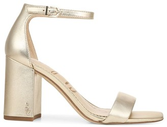 Sam Edelman Daniella Ankle-Strap Metallic Leather Sandals