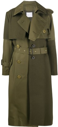 Sacai Two-Tone Belted Trench Coat