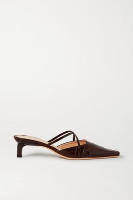 REJINA PYO Phoebe Croc-effect Leather Mules - Brown