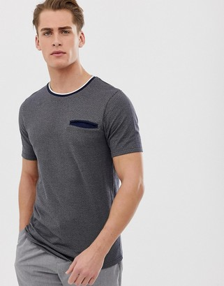 Jack and Jones heavy textured pocket t-shirt-Grey