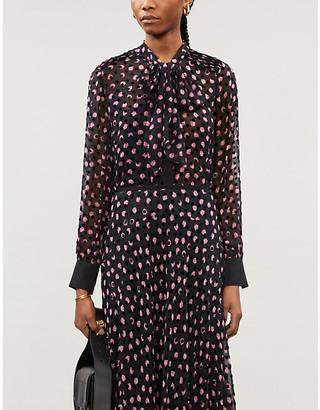 Diane von Furstenberg Minnie printed devore silk-blend chiffon blouse