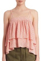 Prose & Poetry Steph Abstract-Print Two-Tiered Ruffled Cami