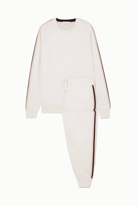 Olivia von Halle Missy Moscow Striped Silk And Cashmere-blend Sweatshirt And Track Pants Set - Cream