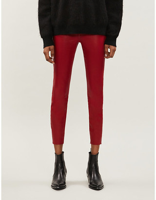 Good American Good Waist Crop tapered skinny high-rise coated jeans
