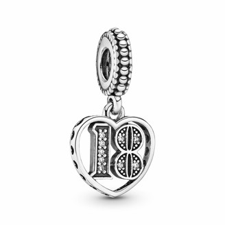 Pandora Women's Moments 18th Birthday Charm Pendant Sterling Silver Cubic Zirconia 797262CZ
