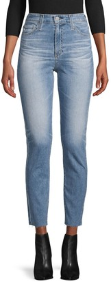 AG Jeans High-Rise Raw-Hem Slim Straight Ankle Jeans