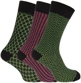 Angelo Cavalli Mens Art Deco Patterned Elastic Top Socks (3 Pairs)