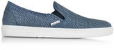 Jimmy Choo Grove Jeans Woven Embossed Suede Slip On Sneaker
