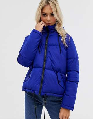 Brave Soul cello hooded puffer jacket-Blue