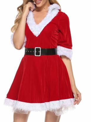Usmley Womens V-Neck Hooded Christmas Fancy Dress Velvet Plush Miss Santa Claus Xmas Festival Party Dress with Belt (Red-1 M)