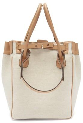 Rodo Medium Leather-trimmed Linen Tote Bag - Beige
