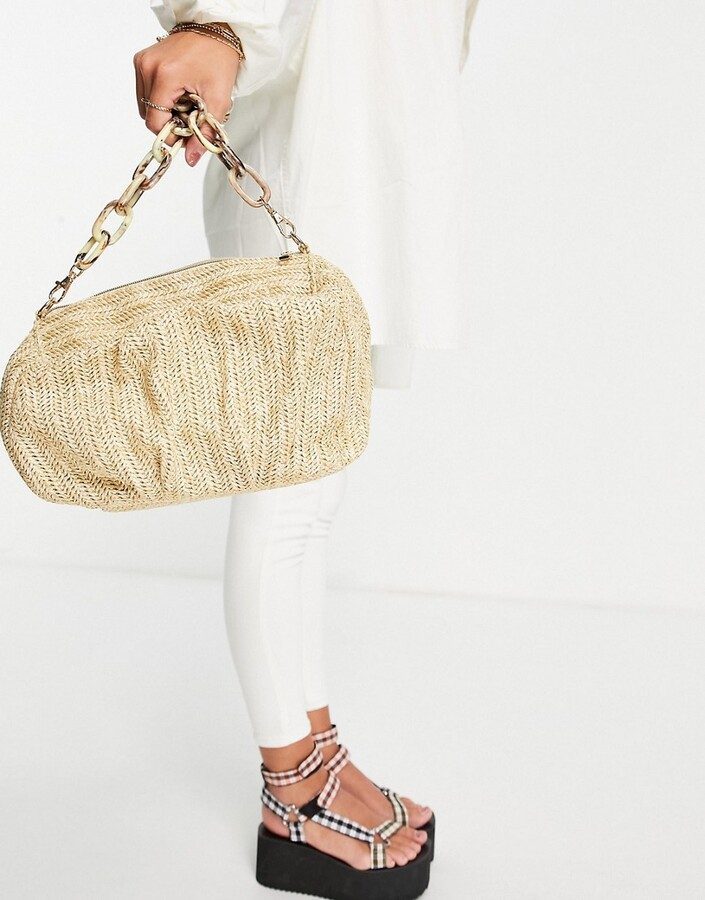 ASOS DESIGN oversized ruched clutch bag in natural straw with detachable resin chain