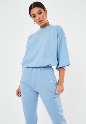Missguided Tall Blue Oversized Drop Shoulder T-Shirt