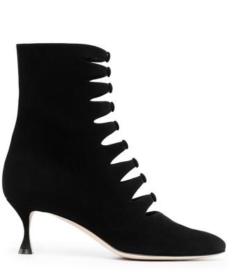 Manolo Blahnik Button-Detailing Ankle Boots
