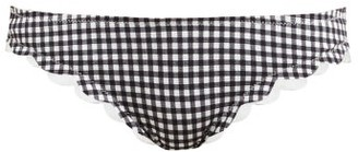 Marysia Swim Broadway Gingham Scallop-edged Bikini Briefs - Black White