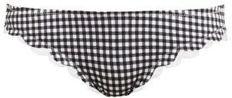 Marysia Swim Broadway Gingham Scallop Edged Bikini Briefs - Womens - Black White