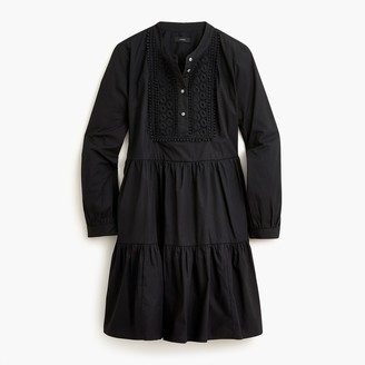 J.Crew Petite embroidered stretch cotton poplin tiered dress