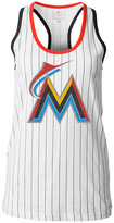 5th & Ocean Women's Miami Marlins Pinstripe Glitter Tank Top