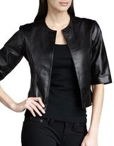 Neiman Marcus Leather Bolero Jacket