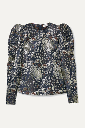 By Malene Birger Claude Ruched Metallic Brocade Top - Storm blue