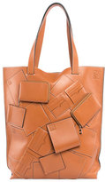 Loewe Vertical Leather Tote Bag with Wallet Appliques, Beige