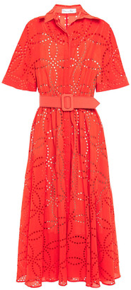 Oscar de la Renta Belted Broderie Anglaise Cotton Midi Dress