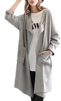 Suvimuga Women's Elegant Long Cuffed Sleeve Lapel Neck Pocket Front Open Cardigans Trench M