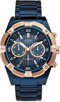 GUESS Men's Chronograph Blue-Tone Stainless Steel Bracelet Watch 44mm U0377G4