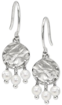 AVA NADRI Hammered Disc & Shaky Imitation Pearl Drop Earrings