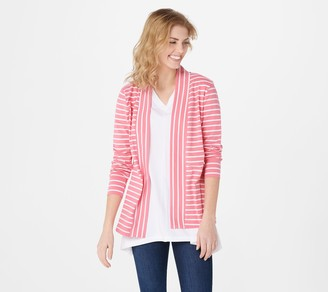 Denim & Co. Petite Essentials Striped Jersey Cardigan