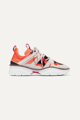 Isabel Marant Kindsay Suede, Leather And Mesh Sneakers - Orange