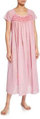 P Jamas Marilu Short-Sleeve Cotton Nightgown