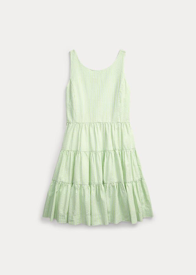 Ralph Lauren Tiered Cotton Seersucker Dress