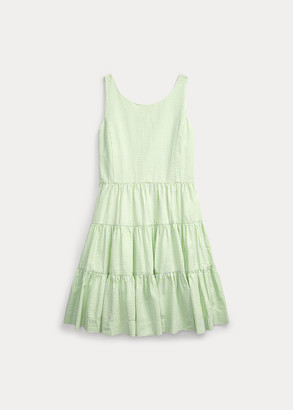 Ralph Lauren Tiered Cotton Seersucker Dress