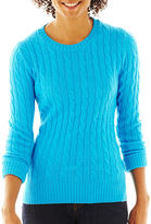 JCPenney JCP jcp™ Wool-Blend Cable-Knit Crew Sweater