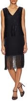 Nicole Miller Silk Fringe Trim Lace Shift Dress