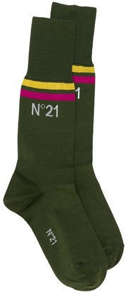 No.21 Striped Logo Socks