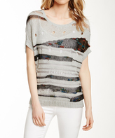 Sisters Silver Stripe Short-Sleeve Pullover Sweater