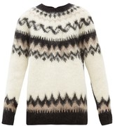 Junya Watanabe Reversed Fair Isle Wool-blend Cardigan - Womens - Black Multi