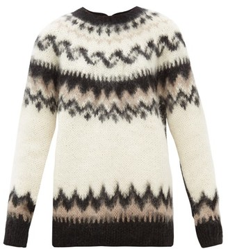 Junya Watanabe Reversed Fair Isle Wool-blend Cardigan - Black Multi