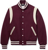 GoldenBear Golden Bear - Leather-trimmed Virgin Wool-blend Bomber Jacket - Burgundy