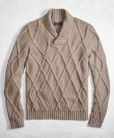 Brooks Brothers Golden Fleece® 3-D Knit Cashmere Blend Cable Shawl Collar Sweater