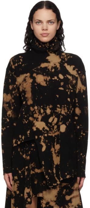 Marques Almeida SSENSE Exclusive Black Bleached Draped Turtleneck